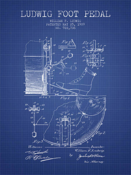 Pedal Wall Art - Digital Art - Ludwig Foot Pedal Patent From 1909 - Blueprint by Aged Pixel