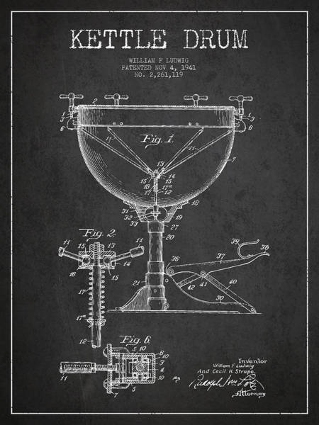 Country Living Digital Art - Ludwig Kettle Drum Drum Patent Drawing From 1941 - Dark by Aged Pixel