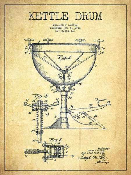 Country Living Digital Art - Ludwig Kettle Drum Drum Patent Drawing From 1941 - Vintage by Aged Pixel