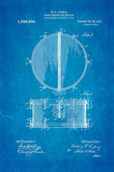 Household Photograph - Ludwig Snare Drum Patent Art 1912 Blueprint by Ian Monk