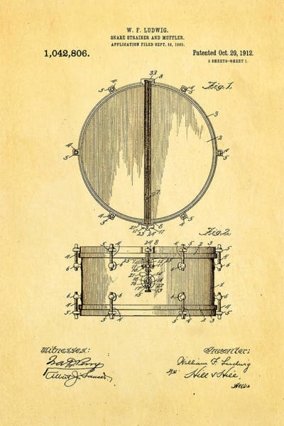 Drum Photograph - Ludwig Snare Drum Patent Art 1912 by Ian Monk