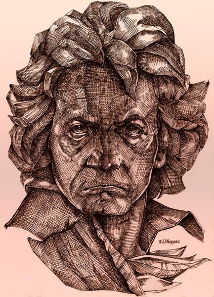Lineart Drawing - Ludwig Van Beethoven by Derrick Higgins