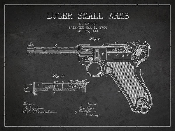 Shooting Digital Art - Lugar Small Arms Patent Drawing From 1904 - Dark by Aged Pixel