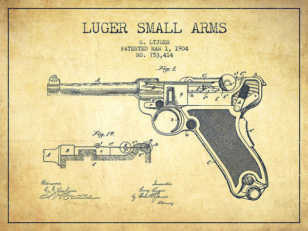 Shooting Digital Art - Lugar Small Arms Patent Drawing From 1904 - Vintage by Aged Pixel
