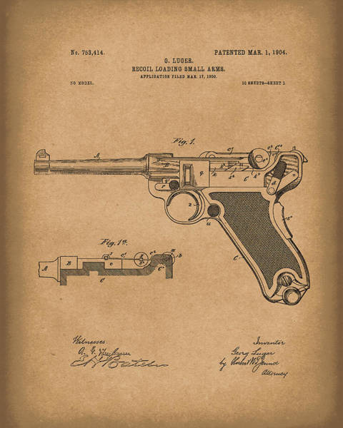Drawing - Luger Handgun 1904 Patent Art Brown by Prior Art Design