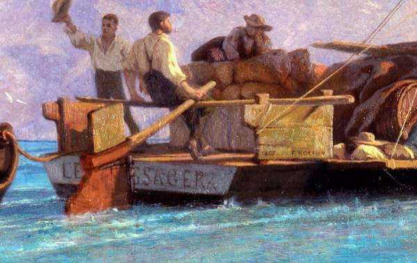 Rudder Painting - Luggage Boat by F.L.D. Bocion