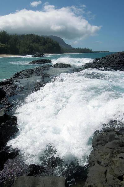 John I Photograph - Lumahai Beach, Wave Breaking Over Rocks by John Elk