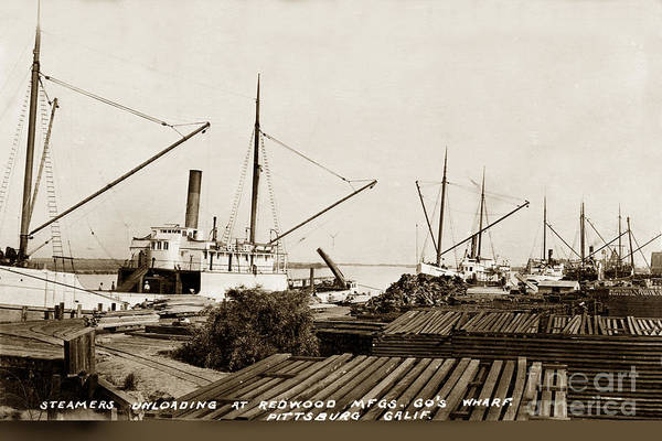 Photograph - Lumber Steamers Unloading At Redwood Mfg. Co.s Wharf Pittsburg Circa 1920 by California Views Archives Mr Pat Hathaway Archives