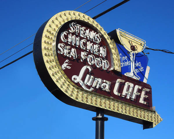 Neon Photograph - Luna Cafe by Todd Baxter