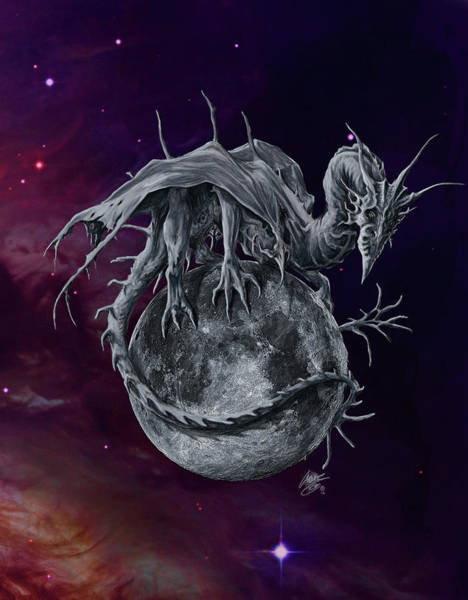 Wall Art - Painting - Luna Dragon by MGL Meiklejohn Graphics Licensing
