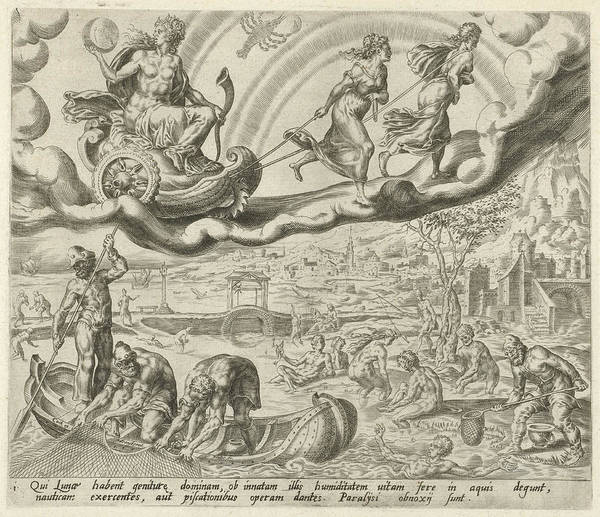 Influence Drawing - Luna, The Moon, And Her Children, Harmen Jansz Muller by Harmen Jansz Muller And Hieronymus Cock