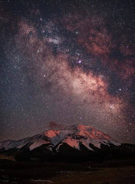 Colorado Photograph - Lunar Alpenglow And Milky Way Skies At by Mike Berenson / Colorado Captures