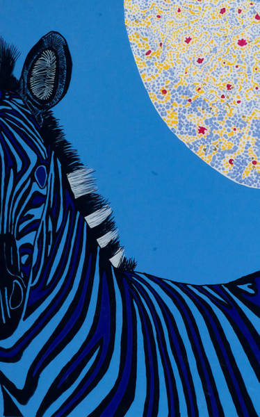 Wall Art - Painting - Lunar Blue Zebra by Patrick OLeary