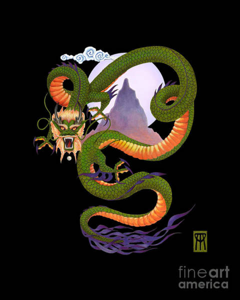 Wall Art - Digital Art - Lunar Chinese Dragon On Black by Melissa A Benson