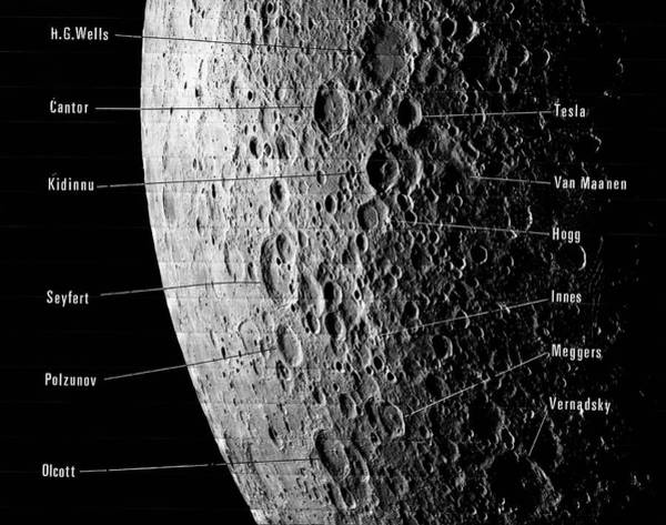 Darkside Photograph - Lunar Craters by Emilio Segre Visual Archives/american Institute Of Physics