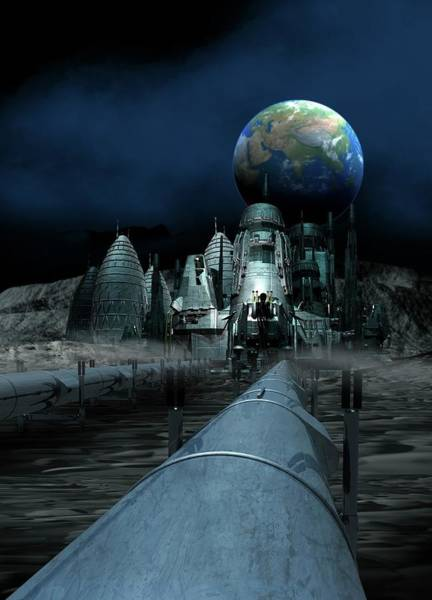 Space Exploration Digital Art - Lunar Mining Colony, Artwork by Victor Habbick Visions