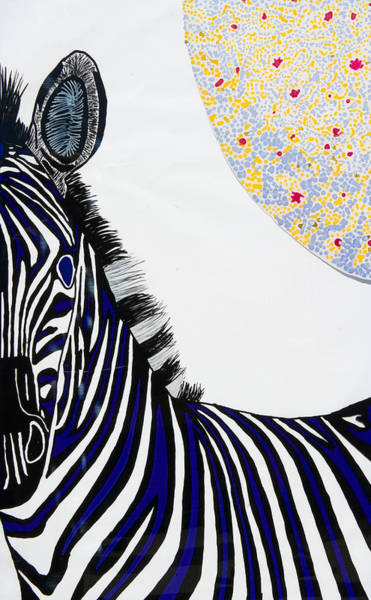 Wall Art - Painting - Lunar White Zebra by Patrick OLeary