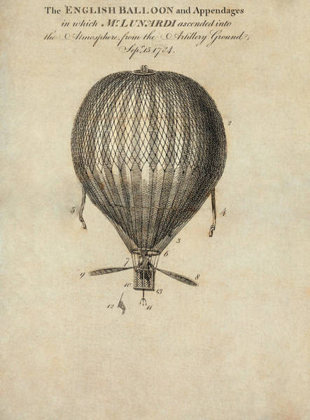 Wall Art - Photograph - Lunardi's Balloon Flight by Library Of Congress/science Photo Library