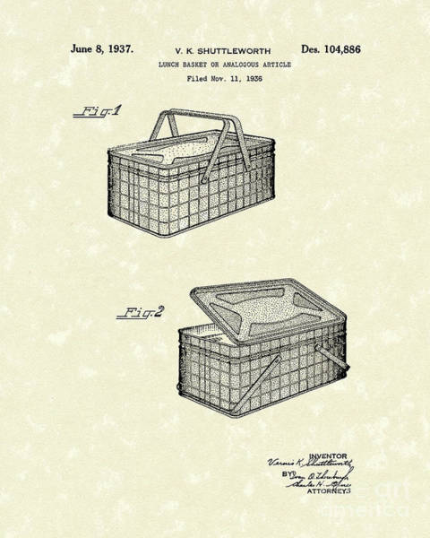 Picnic Basket Wall Art - Drawing - Lunch Basket 1937 Patent Art by Prior Art Design