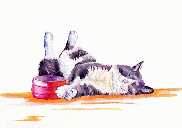 Tuxedo Cat Painting - Lunch Break by Debra Hall
