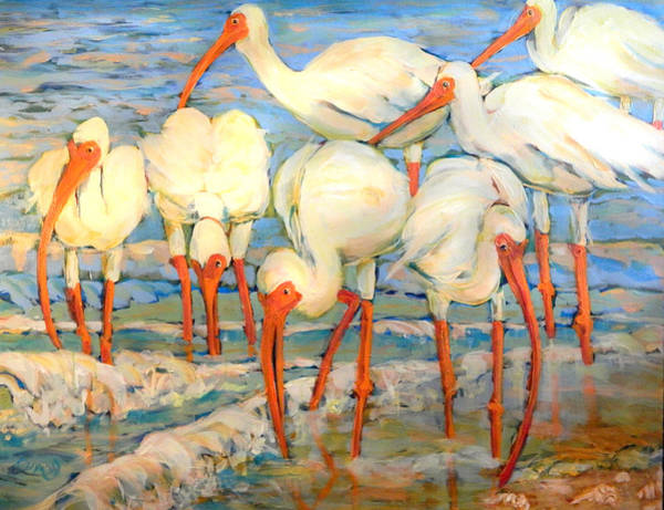 Painting - Lunch On The Beach With Friends  by Cora Marshall