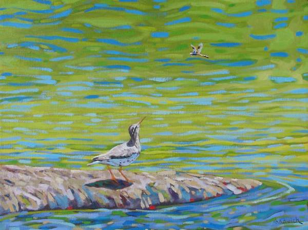 Dragon Fly Painting - Lunch? by Phil Chadwick