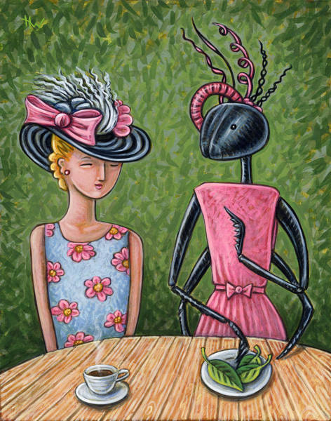 Fashion Plate Painting - Lunch With A Favorite Ant by Holly Wood