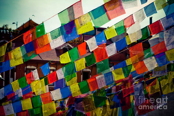 Photograph - Lungta Prayer Flags Near Stupa Boudhanath by Raimond Klavins