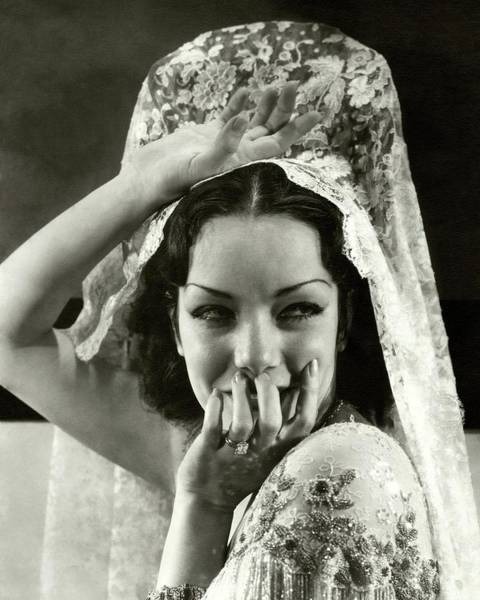Photograph - Lupe Velez Wearing A Headdress by Edward Steichen