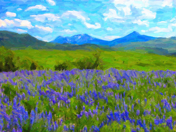 Digital Art - Lupine Blue Mountains by Rick Wicker