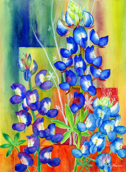 Wild Flowers Wall Art - Painting - Lupinus Texensis by Hailey E Herrera