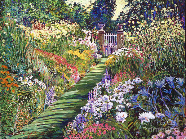 Flower Bed Wall Art - Painting - Lush Floral Pathway by David Lloyd Glover