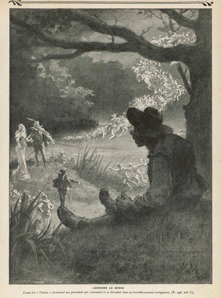 Folklore Drawing - Lusmore The Hunchback Meets Leprechauns by Mary Evans Picture Library