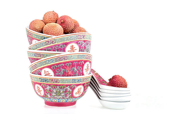 Asian Food Photograph - Lychees In Bowls With Spoons by Jane Rix