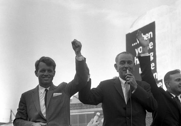 Democratic Party Photograph - Lyndon Johnson With Robert Kennedy by War Is Hell Store