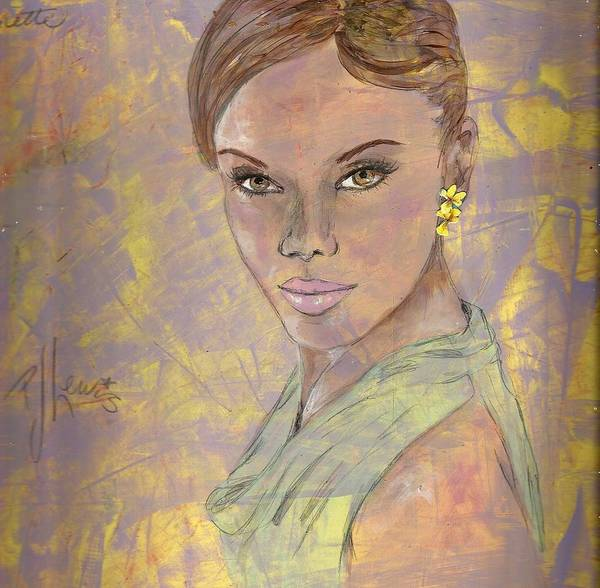 Mixed Colors Drawing - Lynette by PJ Lewis