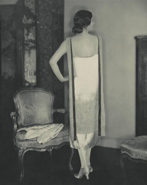Lynn Wall Art - Photograph - Lynn Fontane Wearing A Callot Dress by Edward Steichen