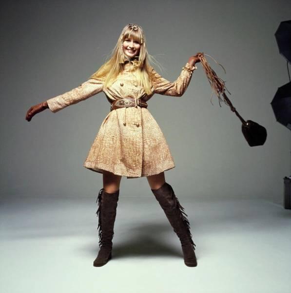 Photograph - Lynn Sutherland Wearing An Originala Coat by Bert Stern