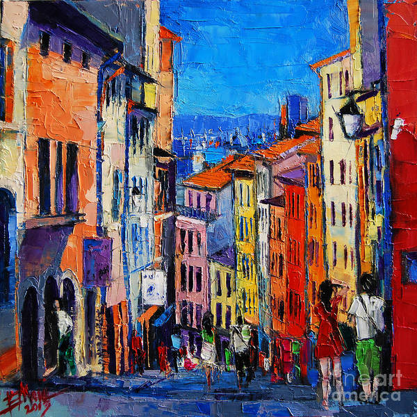 Urban Life Painting - Lyon Colorful Cityscape by Mona Edulesco