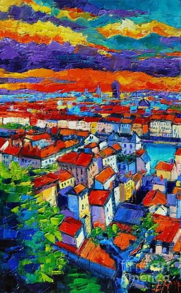 Lyons Wall Art - Painting - Lyon View - Triptych Left Panel by Mona Edulesco