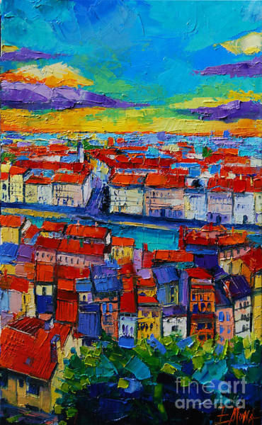 Lyons Wall Art - Painting - Lyon View - Triptych Center Panel by Mona Edulesco