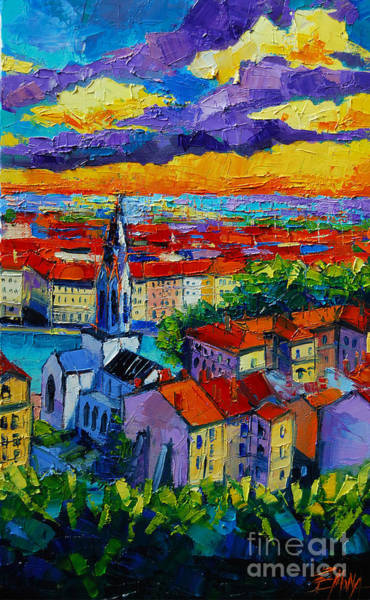 Lyons Wall Art - Painting - Lyon View - Triptych Right Panel by Mona Edulesco