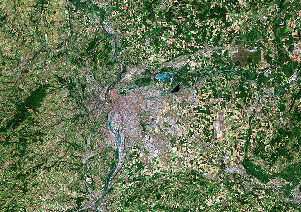 Rhone River Photograph - Lyon by Planetobserver/science Photo Library
