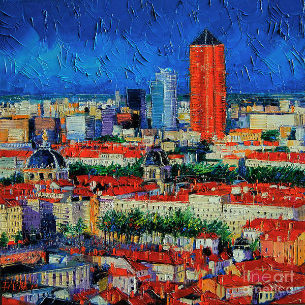 Lyons Wall Art - Painting - Lyon View From Jardins Des Curiosites  by Mona Edulesco