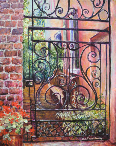 Southern Charm Painting - Lyrical Gate by Alice Grimsley