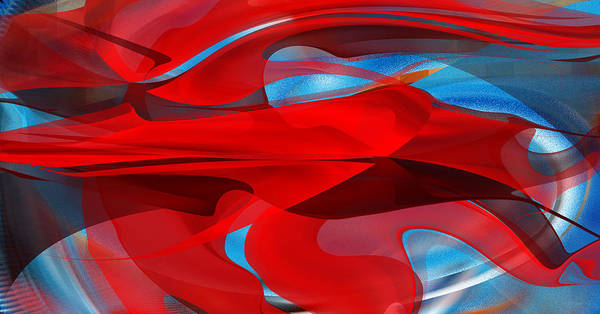 Digital Art - Lyrical Red On Blue Abstract by rd Erickson