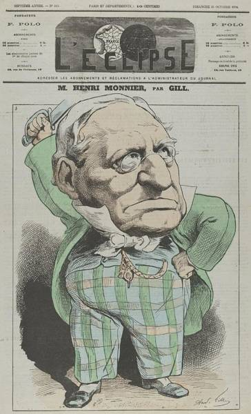 Gill Drawing - M. Henri Sic Monnier From L�clipse by Andr� Gill