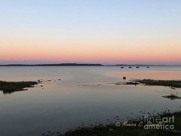 Photograph - M Landscapes Collection No. L20 - Dawn's Glow Over Mackinac Island And Lake Huron by Monica C Stovall