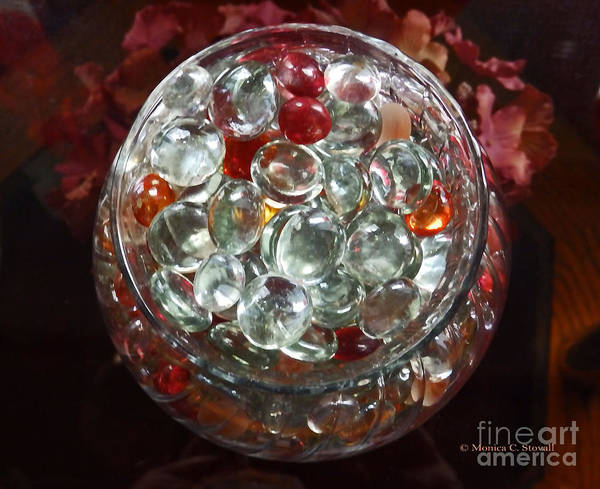 Photograph - M Still Life Collection Glass Beads Glass Jar No. Slc28 by Monica C Stovall