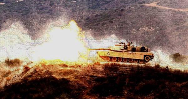 Wall Art - Photograph - M1 Abrams Tank Camp Pendelton Enhanced by L Brown